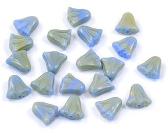 Czech Glass Satiny Blue Flat Bell Flower Beads 9 x10mm - 20