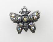 Vintage Butterfly Charm Swarovski Crystal Rhinestone Antiqued Silver Bead Drop Metal Finding uvf0315 (1)