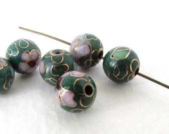Vintage Cloisonne Beads Enamel Flower Pink Green Blue Gold Round 8mm vgb0910 (6)