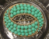 Vintage Crown Trifari Samara collection Brooch 1960's faux turquoise ballotini