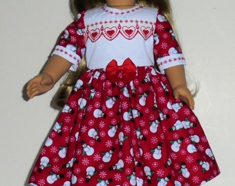 Christmas  dress designed for American Girl 18 inch doll   No. 687