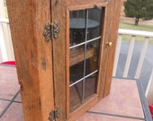 Rustic Oak Barnwood Corner Cabinet with Stained Glass Door