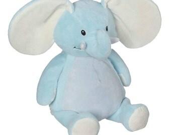 personalized baby gift, stuffed plush, blue elephant kids personalized stuffed animal keepsake, baby gift, Embroider Buddy