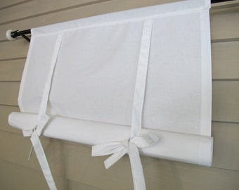White Cotton 36 Inch Long Window Shade Tie Up Curtain Stagecoach Off White Roll Up Swedish Blind