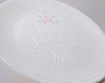 Personalized Wedding Plate - Signature Wedding Platter - Custom Wedding Gift - Decorative Guestbook Plate - Hand Painted Marriage Plate