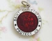 Vintage Enamel St. Christopher Medal, Vintage Religious Medal