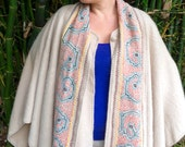 Alpaca Cape with Authentic Shipibo Embroidery - One of a kind - Shipibo Clothing - Hand Embroidered -Tribal Fusion - Brown