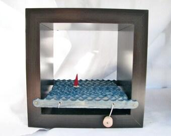 nautical kinetic sailboat sculpture, wall hanging shadowbox frame, wood box home decor