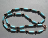 Necklace Magnesite and Black Obsidian Gemstones with Copper Beads 24 Inches