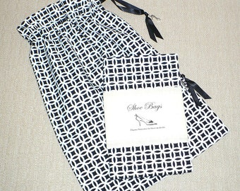 Black and White, Shoe Bags, Travel Bags, Drawstring, Shoe Storage, Shoe Organizer, Lingerie