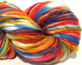 Handspun Yarn I Can Sing A Rainbow 96 yards hand dyed merino wool rainbow yarn waldorf doll hair knitting supplies crochet supplies