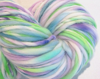 Handspun Yarn Wondrous Stories 150 yards blue green purple yarn hand dyed merino wool knitting supplies  waldorf doll hair knitting supplies