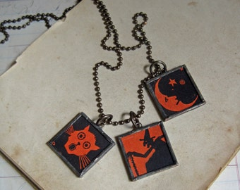 Halloween Charm Soldered Glass Necklace One of a Kind Jewelry
