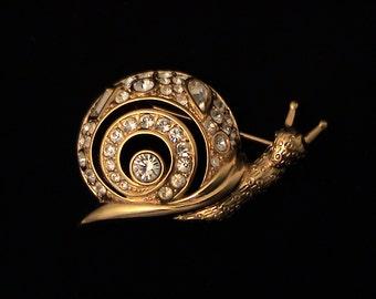 Vintage SWAROVSKI Swan Signed Figural Snail Crystal Brooch