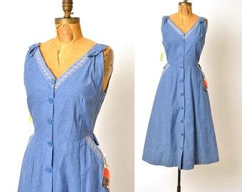 1950s dress / blue chambray dress / 50s dress / NOS