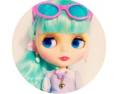 """Doll Jewelry Pastel Necklace Gold Tone Heart for 11 inch Dolls Fairy Kei 11"""" Doll Accessories of Blythe Pullip Dolls"""