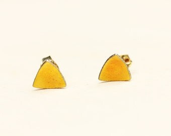 Vintage Yellow Enamel Triangle Studs