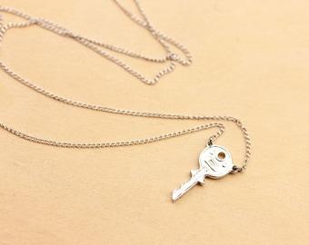 Silver Key Necklace, Key Necklace, Key Charm Necklace, Vintage Key Necklace, Tiny Key Necklace