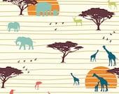 The Plains, Birch Organic Fabrics, Serengeti, Jay-Cyn, Organic Designer Cotton, Safari, Zoo, Cream, Brown, Turquoise, Orange, In Custom Cuts