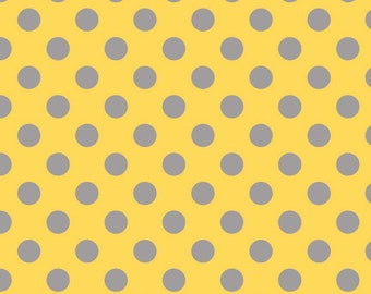 Flannel, Wholesale, Closeout, Gray, Dots, On, Yellow, Grey, Medium, Riley, Blake, Fabric, Cotton, Baby, Girl, Boy, Unisex, Modern, 1 yard