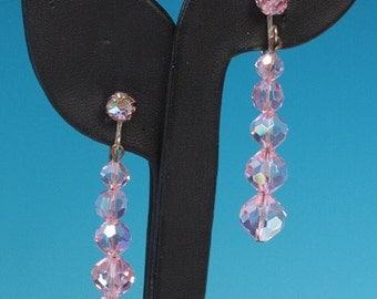 CIJ Sale Pink AB Crystal Dangle Earrings Vintage Pageant Prom
