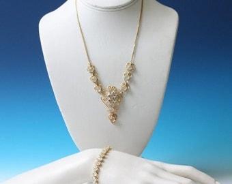 CIJ Sale Moonstone Necklace and Bracelet Set Heart Design Vintage