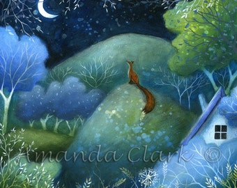 """10 """" x 10""""   Special edition art print with gold leaf.  'One Summer evening'  by Amanda Clark."""