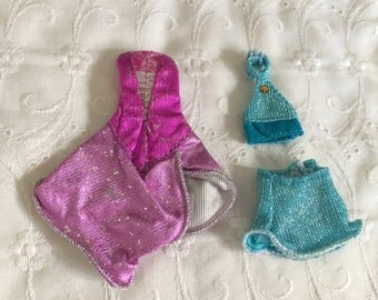 Vintage WINX Fairy Fashion Doll Outfits - Pink Dress & Blue Top and Skirt