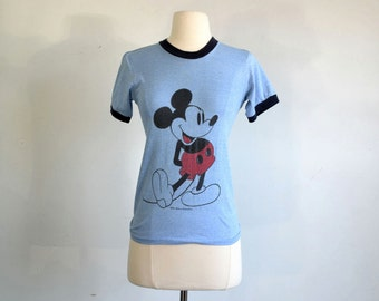 70s Vintage Mickey Mouse Ringer T-Shirt Heather Blue - extra small