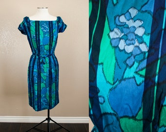 Blue Green Abstract Floral 1960s Wiggle Dress