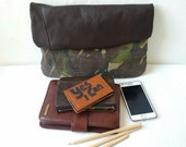 sale, recycled army camouflage clutch bag, leather clutch,army bag, manbag, envelope foldover clutch,pouch, make up bag, camo, toiletries