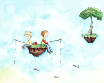 Two Boys Brothers Blonde and Brown Hair Fishing - CATCHING PAPER AIRPLANES - Art Print