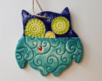 Whimsical Owl Ornament | MADE TO ORDER | Textured Owl Ornament | Christmas Ornaments | Ornaments | Textured Clay