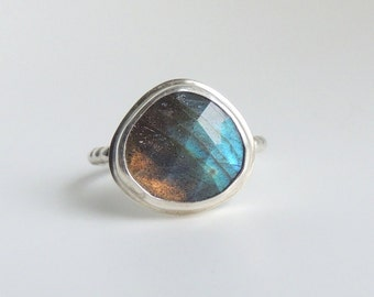 Labradorite Ring Sterling Silver Bezel Set Blue Green Stone Statement Ring Freeform Rose Cut Gemstone Size 6.5