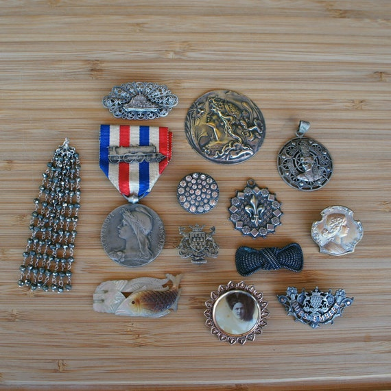 LOT of Antique French Jewelry Brooches Medals