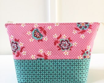 Large Open Wide Pouch in Domestic Bliss | Zippered Pouch | Cosmetic Bag