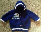 Knit hooded Dallas Cowboys baby sweater Made to Order