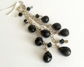 Faceted Black Onyx Dangle Earrings, Sterling Silver and Onyx Gemstone Cascade Earrings