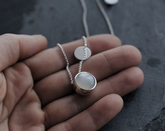 White milky Moonstone solid silver round ball necklace