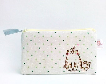 Cat Zipper Pouch, Pouch, Cat, Illustrated Purse, Make up Purse, Cosmetic Pouch, Polka Dot, Hand Drawn Pouch - Cat Lover Gift