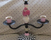 hand painted vintage double candle holder upcycle pink rose courtly checks