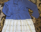 upcycled denim blue tunic top sz L vtg lace ruffle refashion one of a kind original