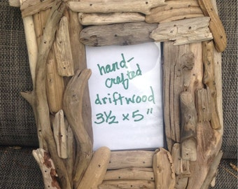 Small real driftwood frame hand crafted easel back glass upcycled Lake Superior