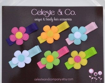 Baby Hair Clips - Bows - Toddler Hair Clips - Flowers on Alligator Clips