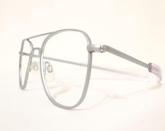 Brushed Metal 70s USA Aviator Engineering Eyeglasses Frame Vintage Sunglasses American Hustle Supermodel Rx Optical Pilot Driver Disco