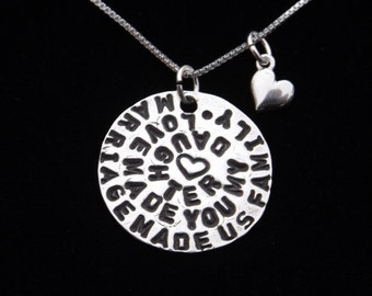 Stepdaughter necklace gift, Daughter in Law gift, Bridal gift for daughter, Wedding gift for stepdaughter, Blended Family