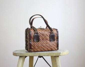 1950s studded basketweave handbag