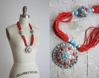 VACATION SALE. bohemian bead necklace / vintage multistrand necklace