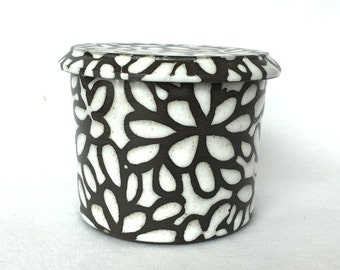 White Modern Floral French Butter Keeper