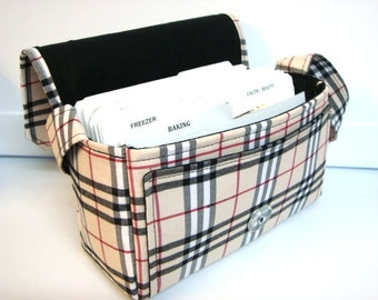 Medium Size Coupon Organizer Holder - Attaches to your shopping cart - Tan Black Red  Plaid